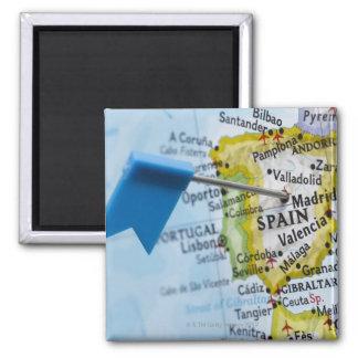 De speld van de kaart in Madrid, Spanje op kaart,  Magneet