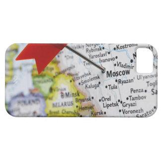 De speld van de kaart in Moskou, Rusland op kaart Barely There iPhone 5 Hoesje