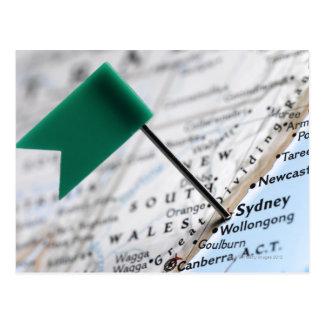De speld van de kaart in Sydney, Australië op Briefkaart