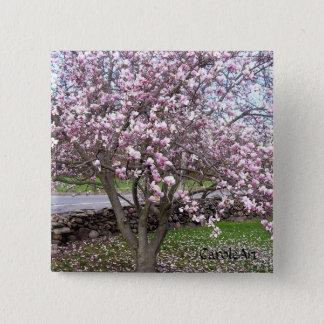 De Speld van de Magnolia's van de steen Vierkante Button 5,1 Cm