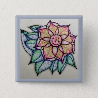 De speld van de Tekening van de bloem, (2 duim) Vierkante Button 5,1 Cm