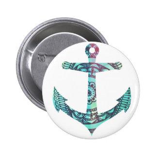 De Speld van het Anker van het patroon door Megafl Ronde Button 5,7 Cm