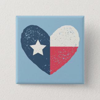 De Speld w/TEXAS van de Vlag van het Hart van Vierkante Button 5,1 Cm