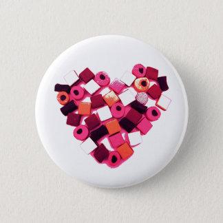 de speldknoop van het snoephart ronde button 5,7 cm
