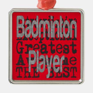 De Speler Extraordinaire van het badminton Zilverkleurig Vierkant Ornament