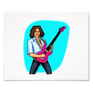 De speler van de gitaar gevild dark elektrisch s fotoafdruk