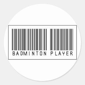 De Speler van het Badminton van de streepjescode Ronde Sticker