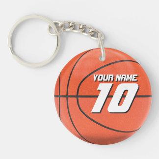 De Speler van het basketbal 1-Zijde Rond Acryl Sleutelhanger