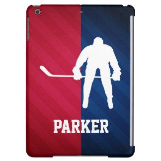 De Speler van het hockey; Rood, Wit, en Blauw