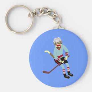 De Speler van het Hockey van de Aap van de sok Sleutelhanger