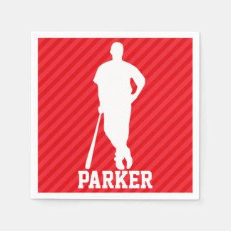 De Speler van het honkbal; Scharlaken Rode Strepen Papieren Servet
