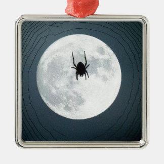 De spin van de maan zilverkleurig vierkant ornament