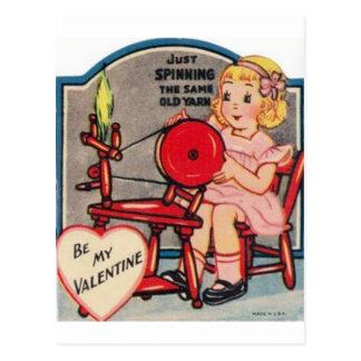De Spinnende Wol van het vintage Meisje van Briefkaart