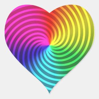 De Spiraalvormige Uitbarsting van de regenboog Hart Sticker