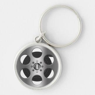 De Spoel van de film Zilverkleurige Ronde Sleutelhanger