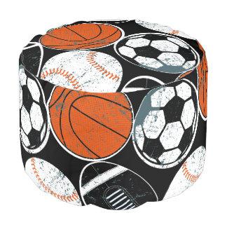 De sportballen van het team poef