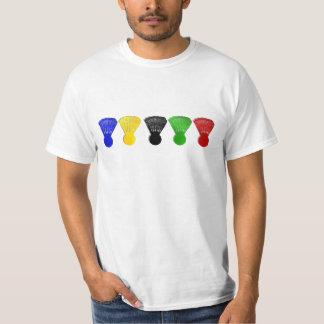 de sporten van de badmintonshuttle t-shirts