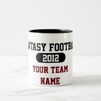 De Sporten van de fantasie - Uw Naam van het Team Tweekleurige Koffiemok