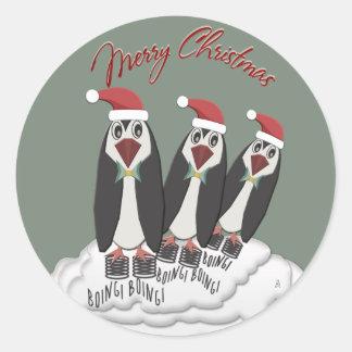 De springende Pinguïnen van Pogo van Kerstmis Ronde Sticker