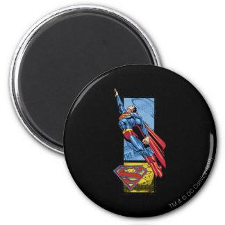 De sprongen van de superman omhoog met logo koelkast magneten