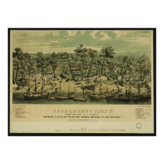 De Stad Californië van Sacramento in 1849 door de Poster