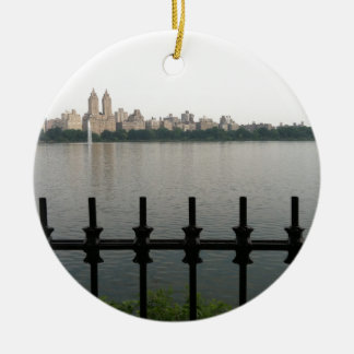 De Stad Manhattan van het Reservoir NYC New York Rond Keramisch Ornament