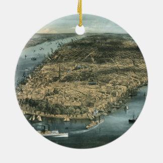De stad New-York In 1856 door Charles Parsons Rond Keramisch Ornament