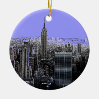 De stad New York voor in de kerstboom Rond Keramisch Ornament