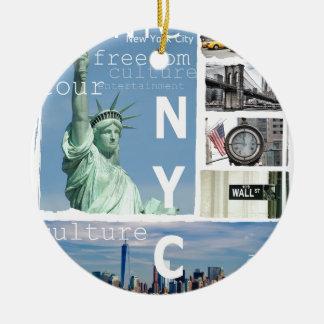 De Stad Nyc van New York Rond Keramisch Ornament