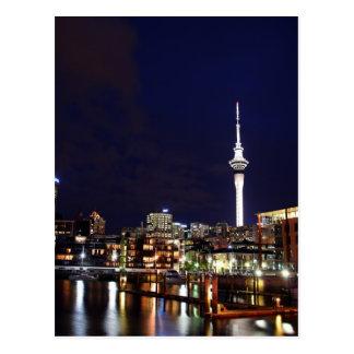 De Stad van Auckland, Nieuw Zeeland bij Nacht Briefkaart