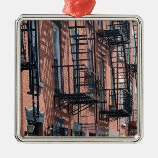 De Stad van de V.S., New York, New York, Brooklyn: Zilverkleurig Vierkant Ornament