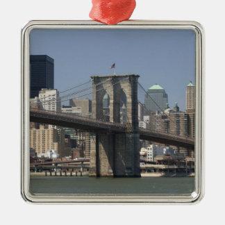 De Stad van de V.S., New York, New York, Zilverkleurig Vierkant Ornament