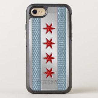 De stad van het Geborstelde Metaal van Chicago OtterBox Symmetry iPhone 8/7 Hoesje