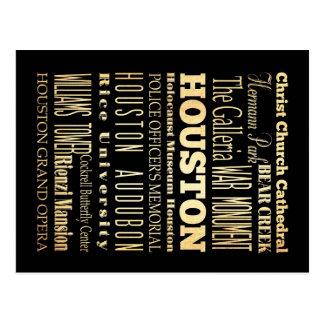 De Stad van Houston van het Art. van de Typografie Briefkaart