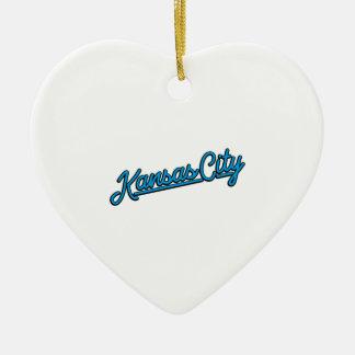 De Stad van Kansas in cyaan Keramisch Hart Ornament
