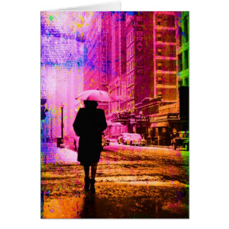 De Stad van Kansas, Kleurrijk Digitaal Art. Grunge Briefkaarten 0