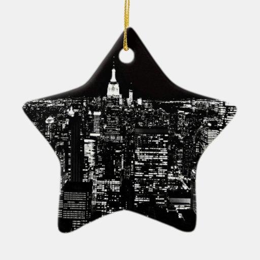 De Stad van New York bij Nacht Kerstboom Ornamenten