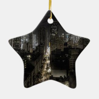De Stad van New York bij Nacht Kerstboom Ornament