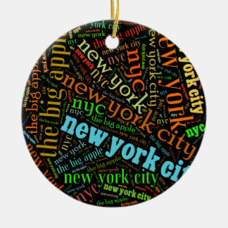 De Stad van New York Rond Keramisch Ornament