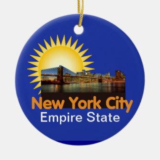 De Stad van New York Rond Keramisch Ornament