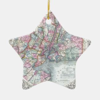 De Stad van New York van de kaart Keramisch Ster Ornament