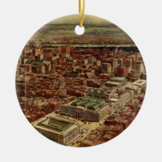 De Stad van New York van de Post van Pennsylvania Rond Keramisch Ornament