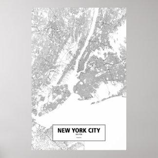 De Stad van New York, zwart New York (op wit) Poster