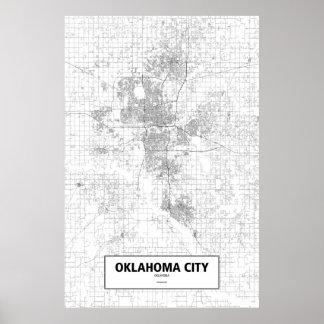 De Stad van Oklahoma, zwart Oklahoma (op wit) Poster