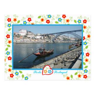 De stad van Porto dichtbij Rivier Douro - oude Briefkaart