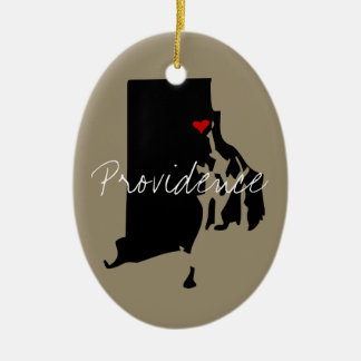 De Stad van Rhode Island Keramisch Ovaal Ornament