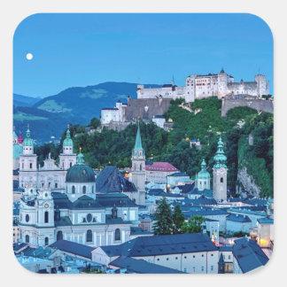 De stad van Salzburg, Oostenrijk Vierkante Sticker