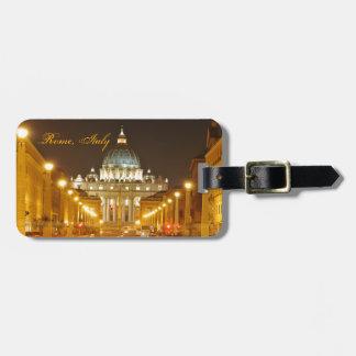 De stad van Vatikaan, Rome, Italië bij nacht Kofferlabels