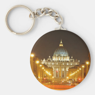 De stad van Vatikaan, Rome, Italië bij nacht Sleutelhanger