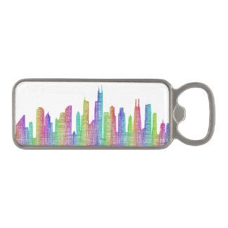 De stadshorizon van Chicago Magnetische Flessenopener